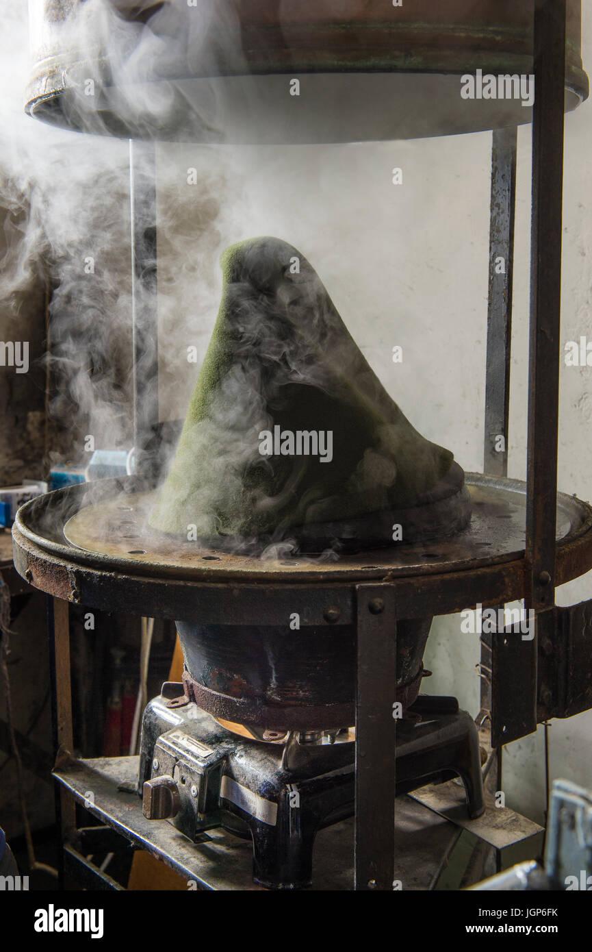 Hat Bodies In Steam Boiler Hatmaker Workshop Bad Aussee Styria