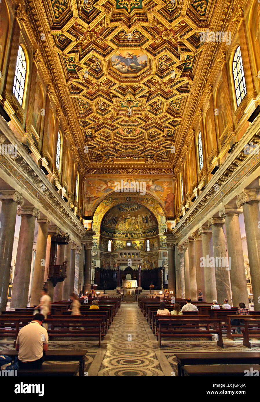 Inside view of the Basilica di Santa Maria in Trastevere, Rome, Italy. Stock Photo