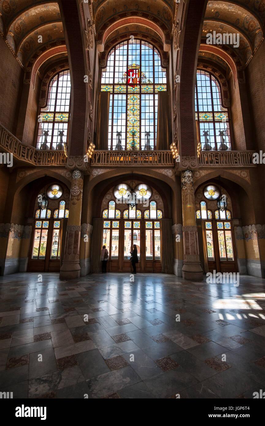 Decorated lead glass windows in the historic hospital complex Hospital de Sant Pau, Barcelona, Spain - Stock Image