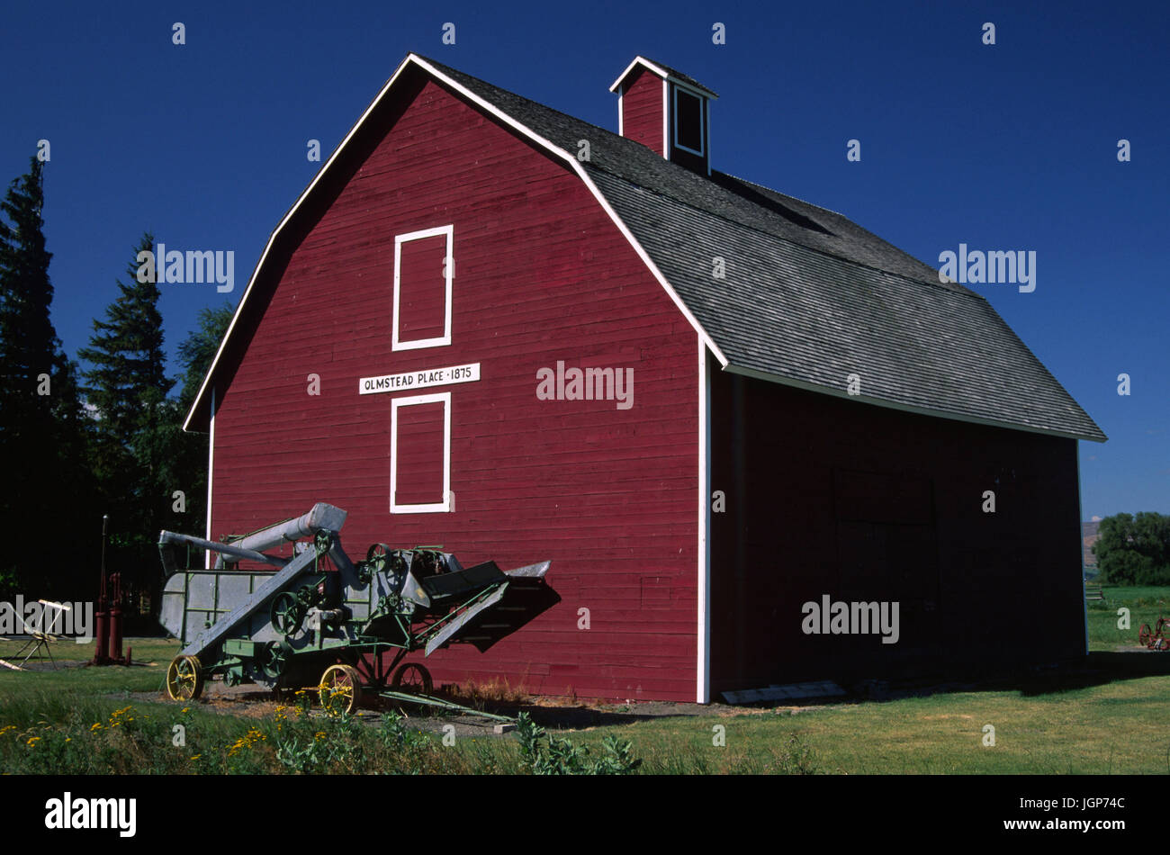 Olmstead Place barn, Olmstead Place State Park, Washington - Stock Image