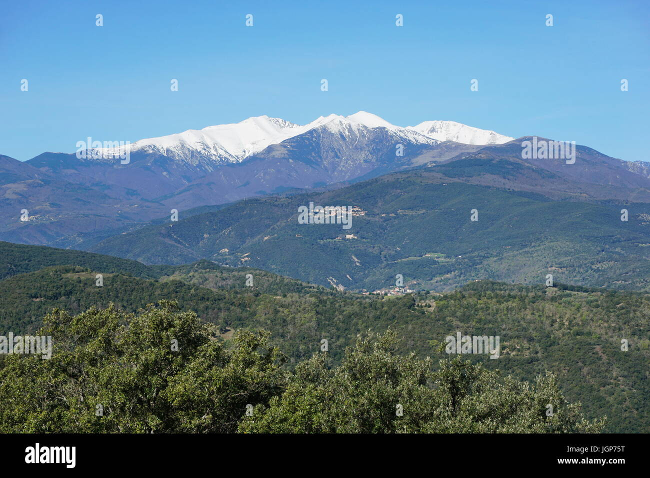 Mountain landscape, the Canigou located in the Pyrenees of southern France, Pyrenees Orientales - Stock Image