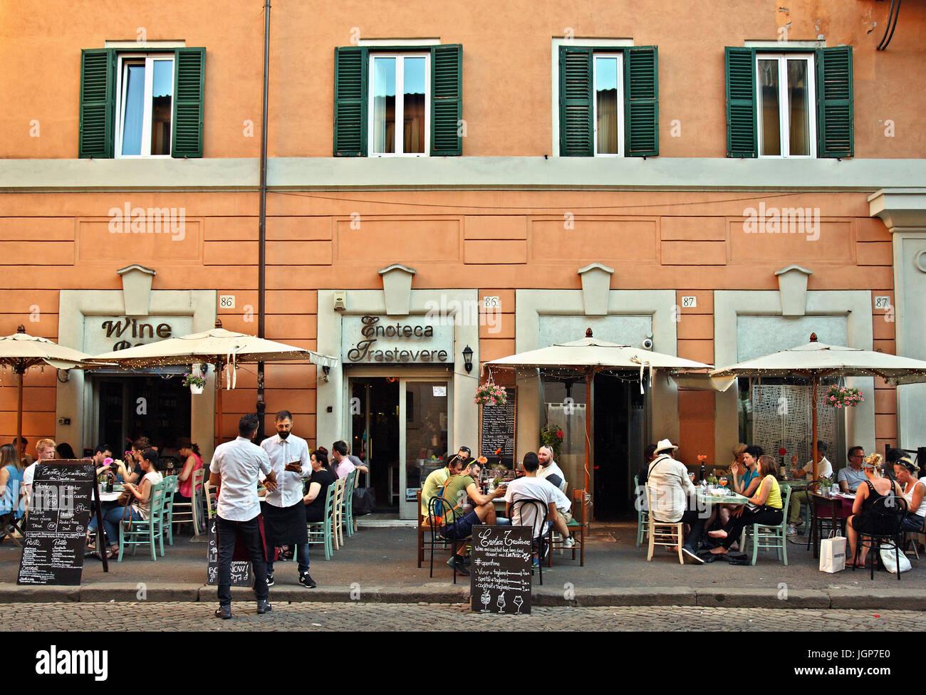 Wine bar - restaurant ('Enoteca Trastevere') at Trastevere, Rome, Italy - Stock Image