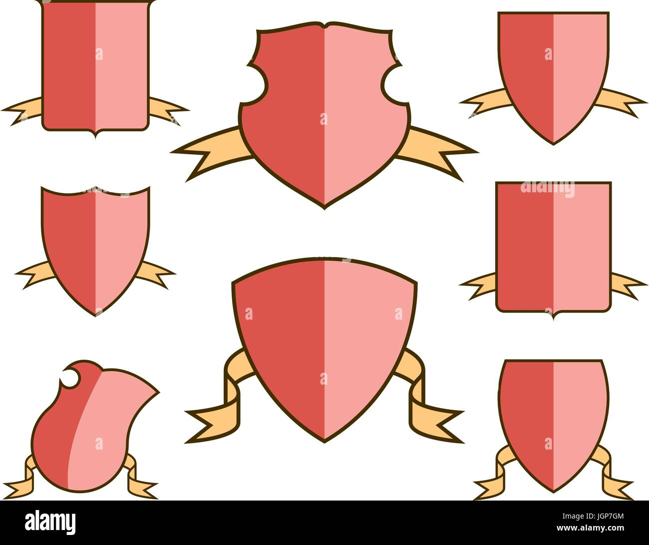 Heraldic escutcheons for coat of arms with ribbons set, shield Stock ...