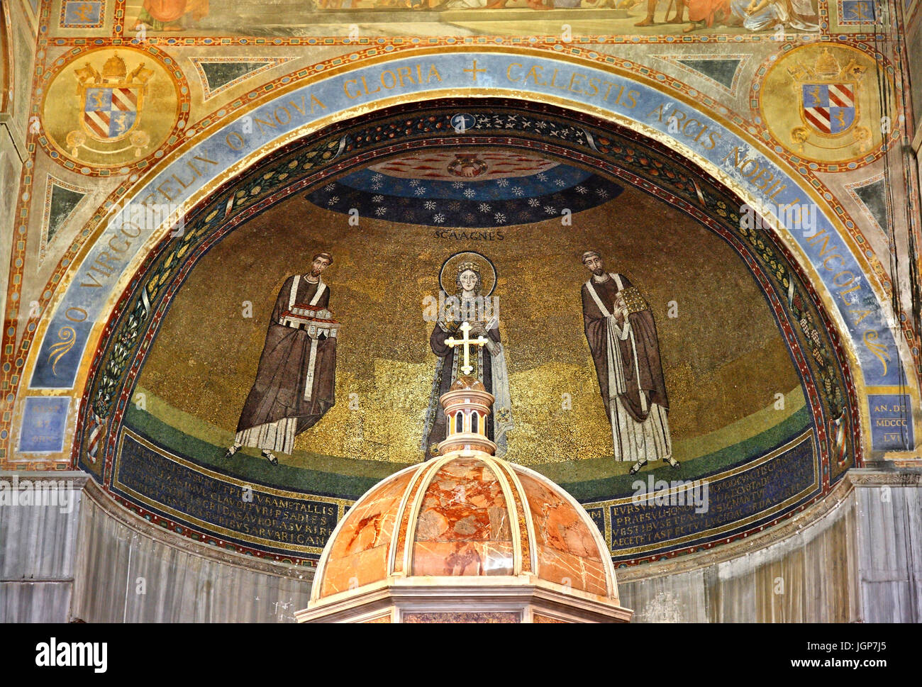 The mosaic of the apse above the altar of the Basilica di Sant'Agnese fuori le mura ('St, Agnes outside - Stock Image