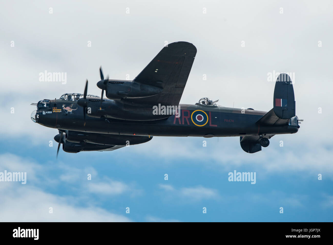 RAF BBMF Lancaster Bomber displaying new markings and nose art at Yeovilton Air Day, UK on the 8th July 2017. Stock Photo