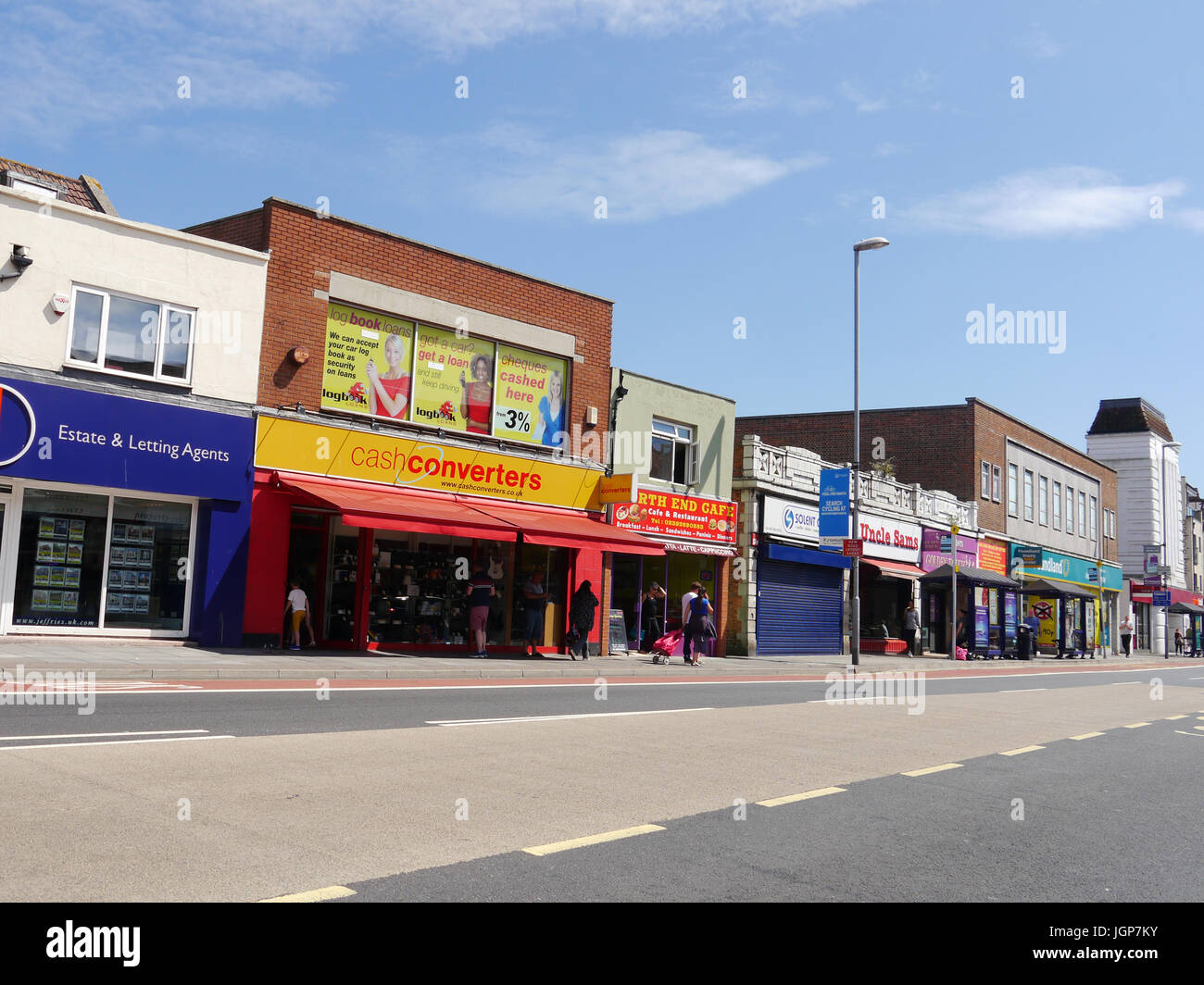 North end high street in Portsmouth, England - Stock Image