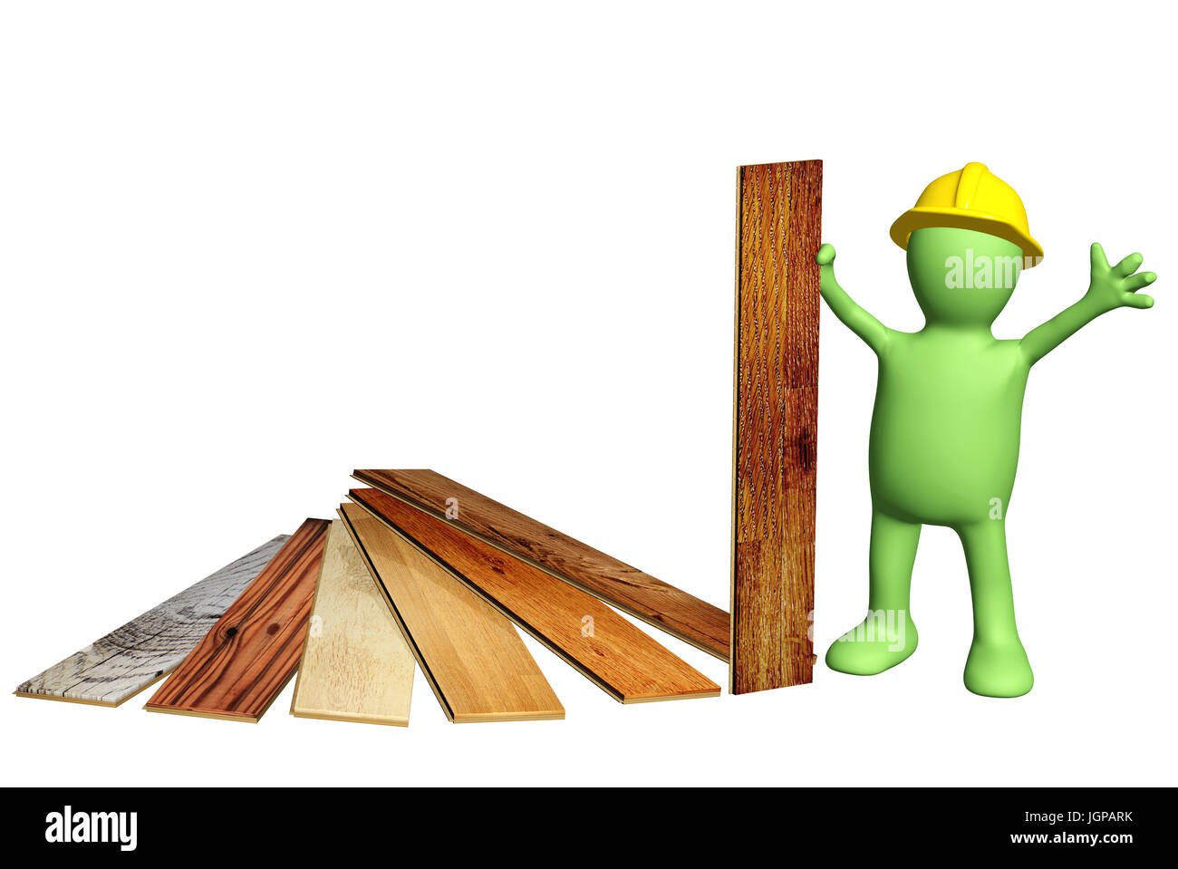 3d builder of green color with new parquet planks. Isolated on white background. 3d render - Stock Image