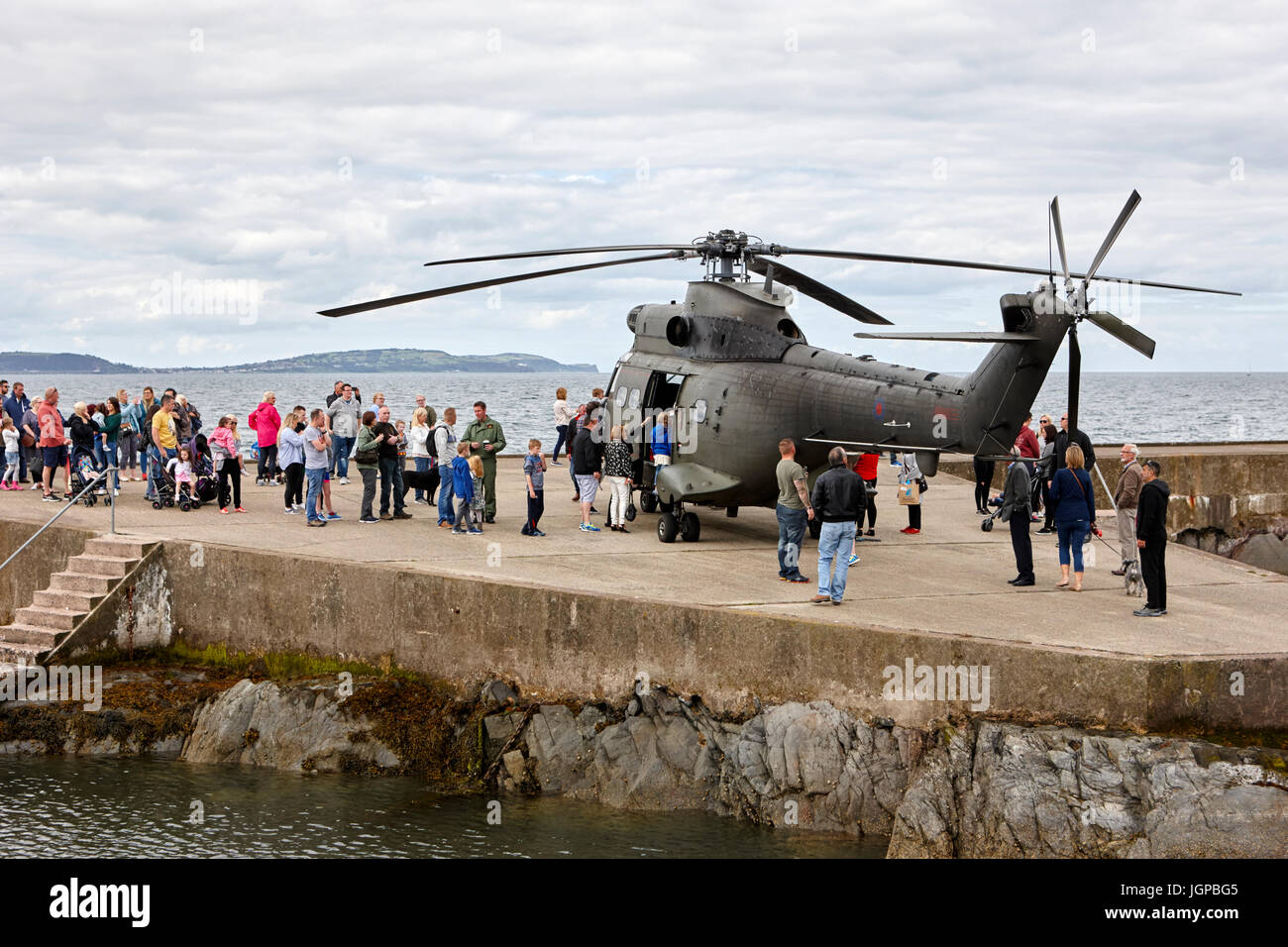 Royal Air Force XW209 westland puma helicopter on display to the public armed forces day bangor northern ireland Stock Photo