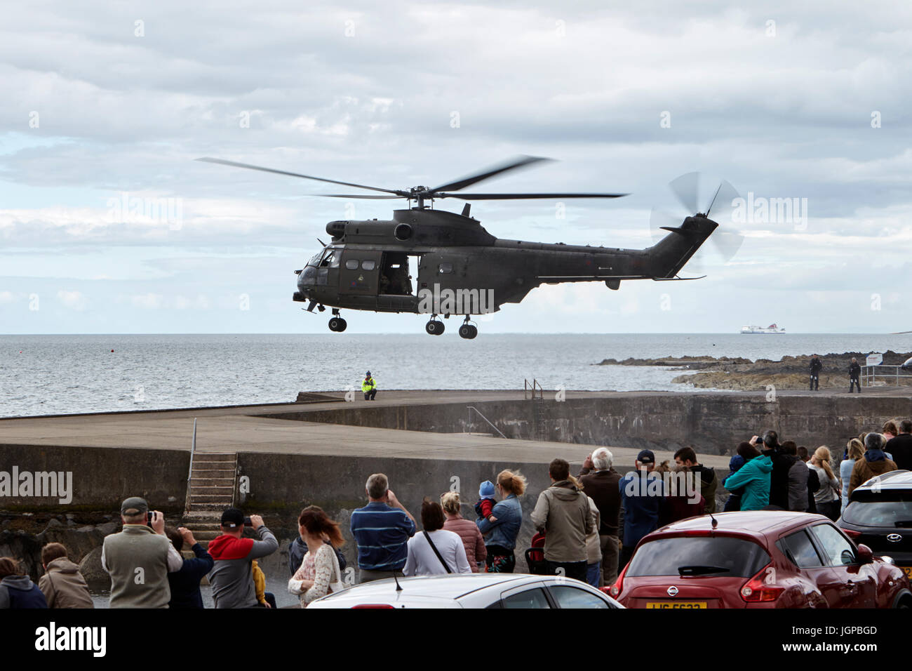 Royal Air Force XW209 westland puma helicopter readying for take off armed forces day bangor northern ireland - Stock Image
