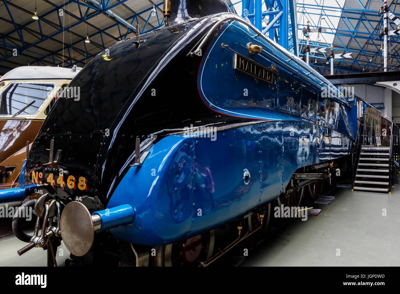 'Mallard' train, Great Hall, National Railway Museum, York, Yorkshire, England, United Kingdom - Stock Image