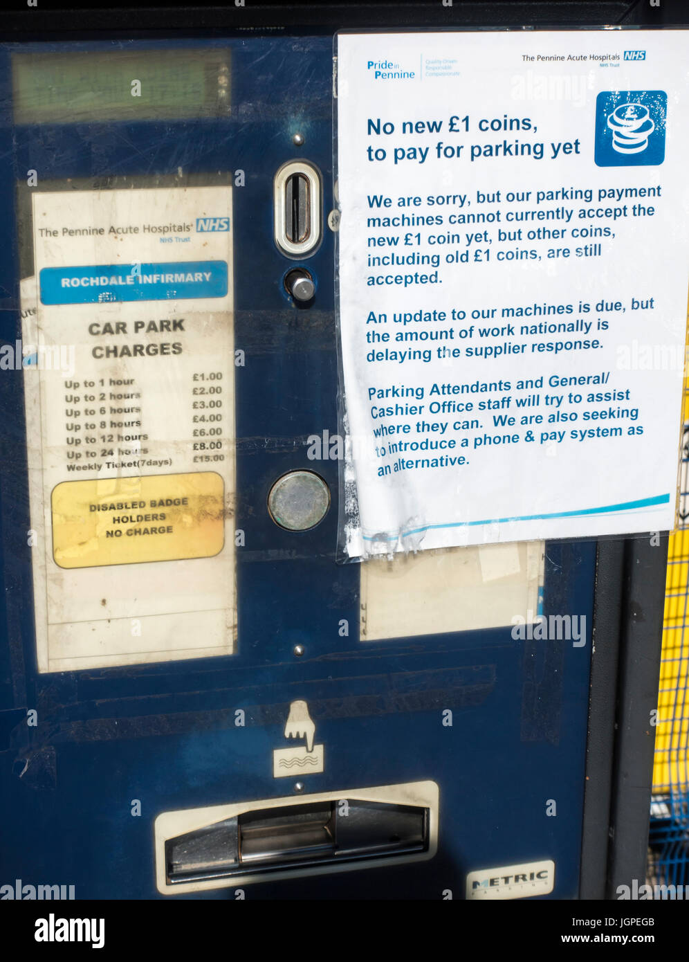 Parking ticket machine at Rochdale Infirmary that doesnt accept the new £1 coin - Stock Image