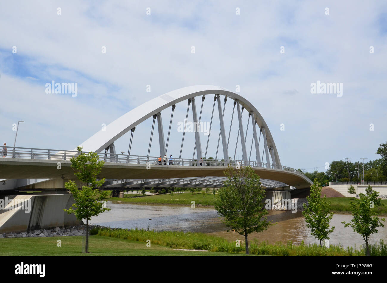 COLUMBUS, OH - JUNE 28: Main Street Inclined Arch Suspension Bridgeat Bicentennial Park is shown on June 28, - Stock Image