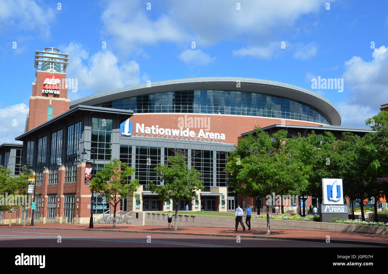 COLUMBUS, OH - JUNE 27: Nationwide Arena in Columbus, Ohio is shown on June 27, 2017. it is the home of the Columbus - Stock Image