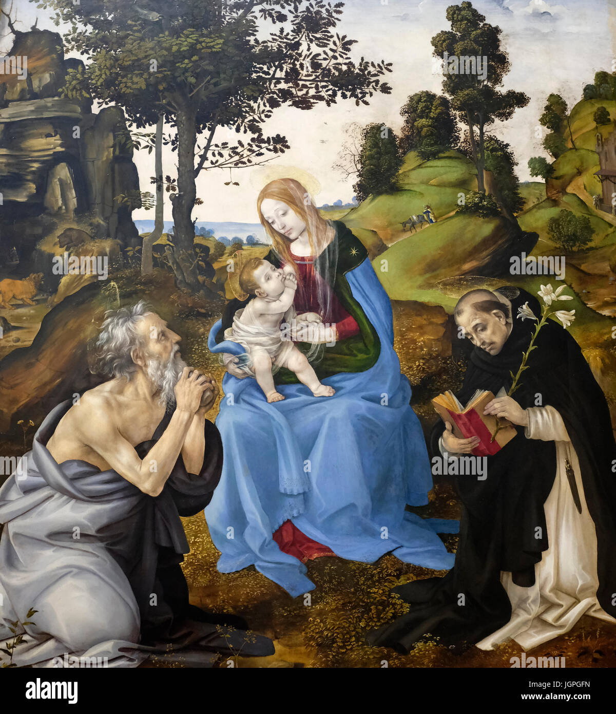 The Virgin and Child with Saints Jerome and Dominic by Filippino Lippi, circa 1485 - Stock Image