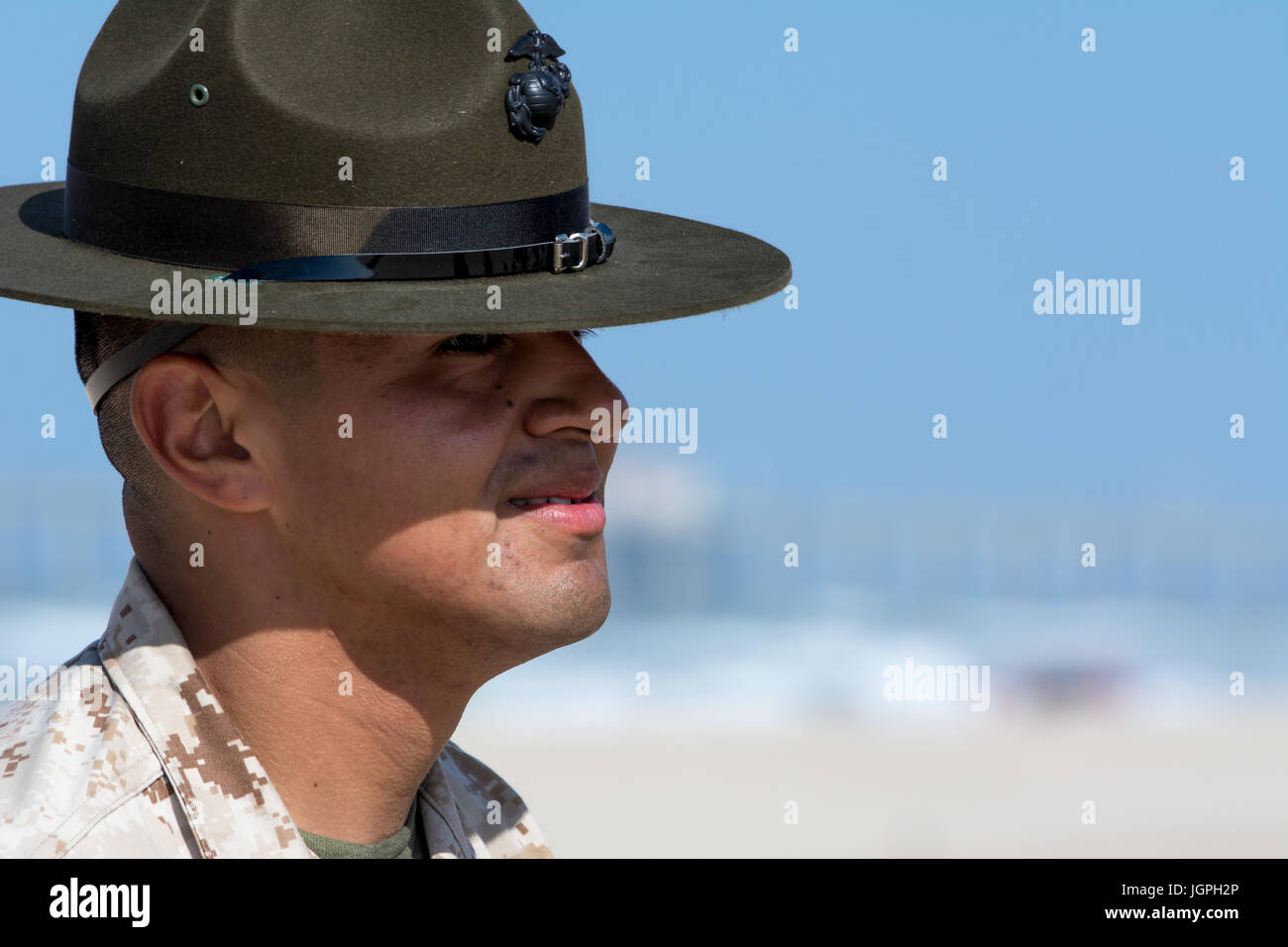 Drill Instructor participating in an Annual Field Meet organized by Recruiting Station Orange in the sunny beaches Stock Photo