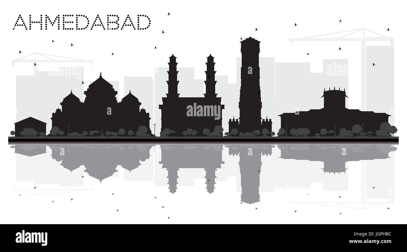 Ahmedabad City skyline black and white silhouette with reflections. Vector illustration. Cityscape with landmarks - Stock Vector