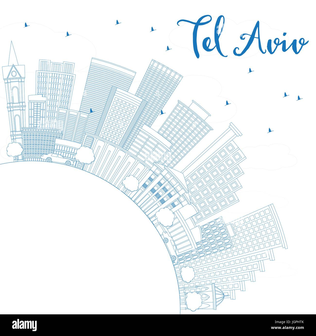 Outline Tel Aviv Skyline with Blue Buildings and Copy Space. Vector Illustration. Business Travel and Tourism Concept - Stock Image