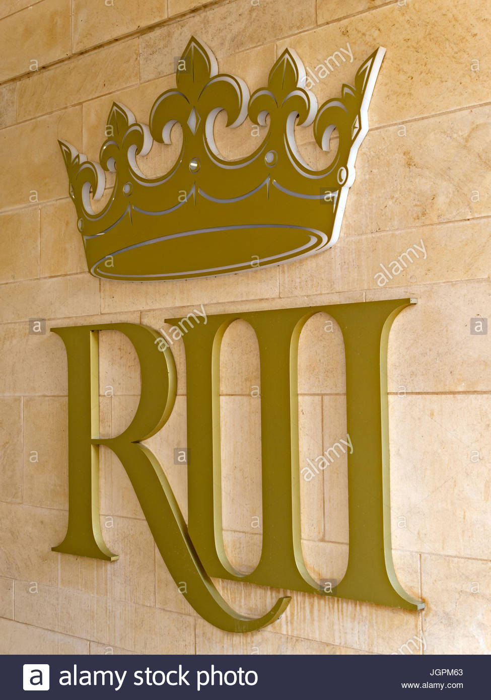 King Richard III Visitor Centre logo at Exhibition entrance, Leicester, England, UK - Stock Image