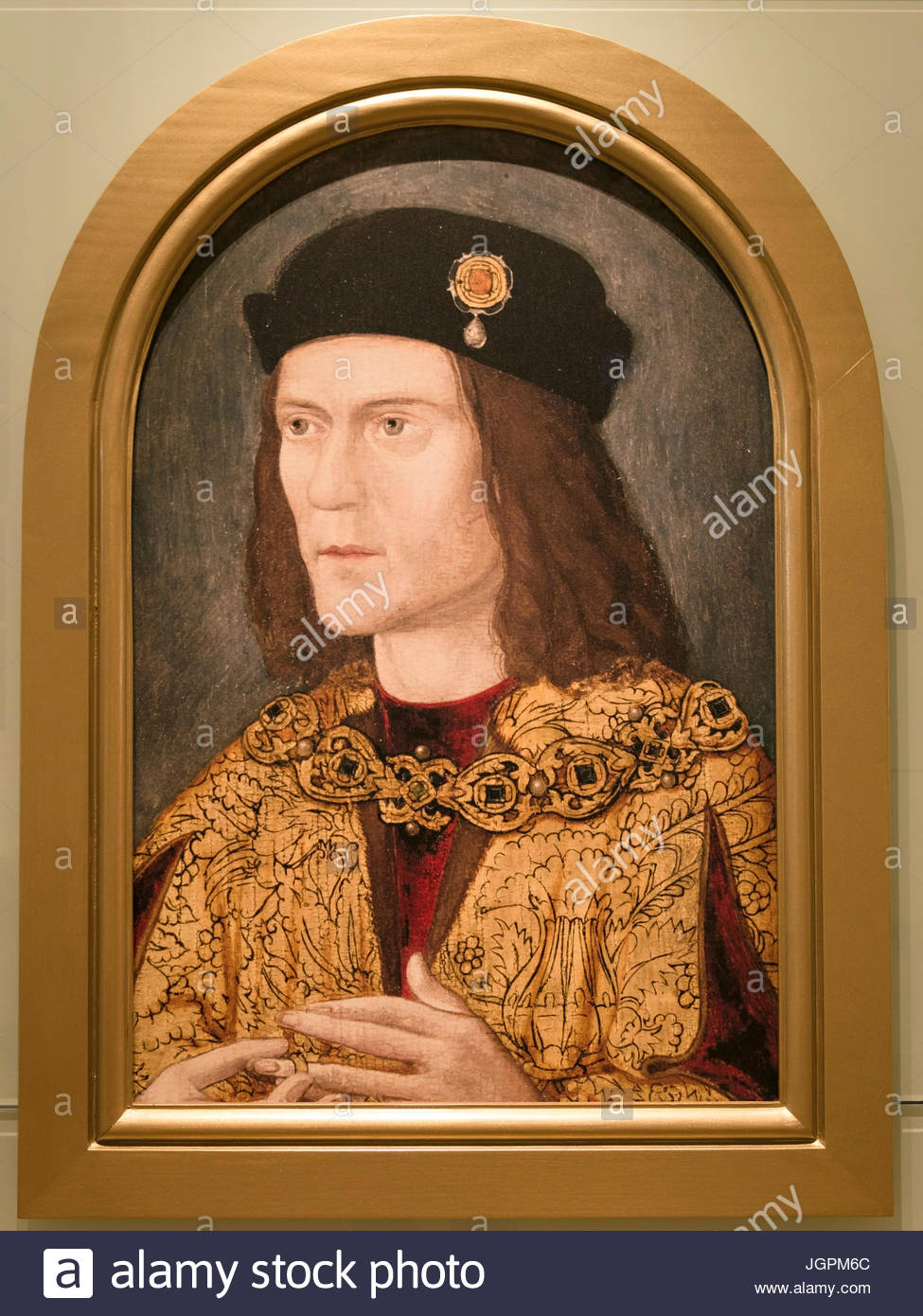 Copy of medieval portrait of King Richard on display in King Richard III Visitor Centre Exhibition, Leicester, England, - Stock Image
