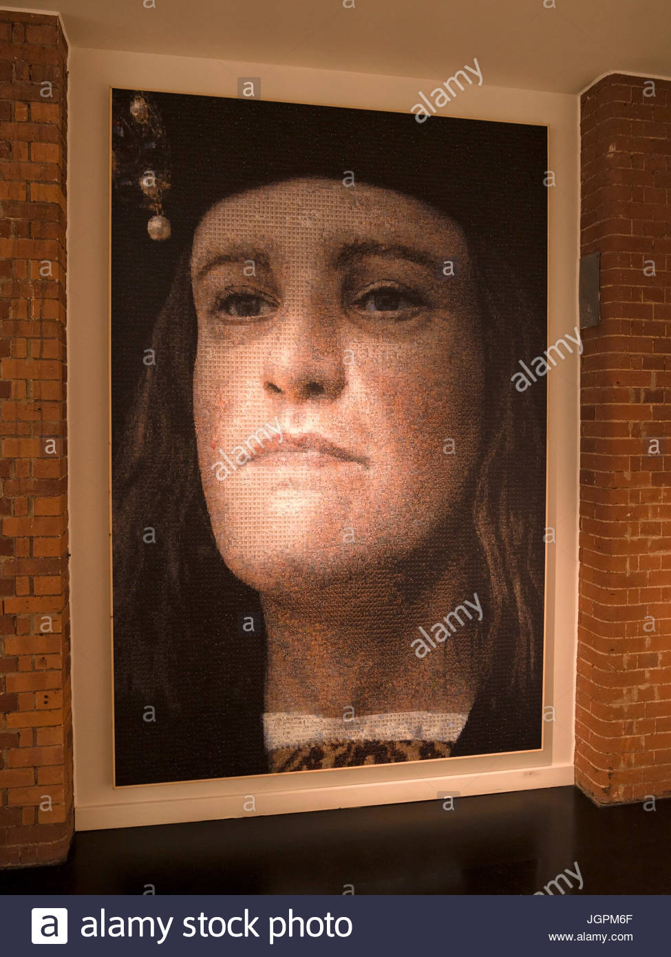 Large digital photo-mosaic portrait of King Richards face, King Richard III Visitor Centre Exhibition, Leicester, - Stock Image
