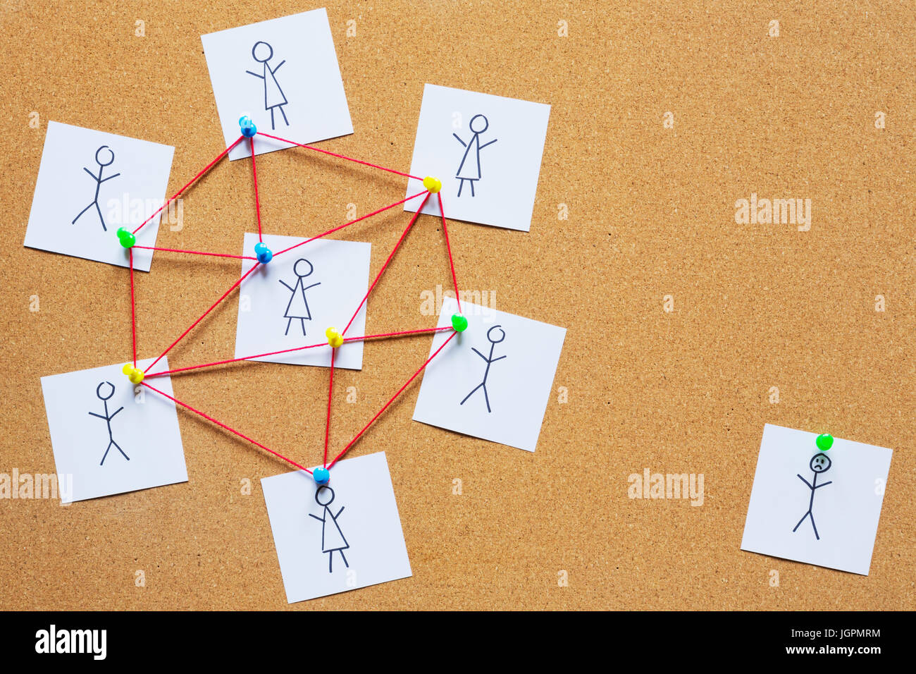 Visualization of a single person not fitting into the group on a cork bulletin board. - Stock Image