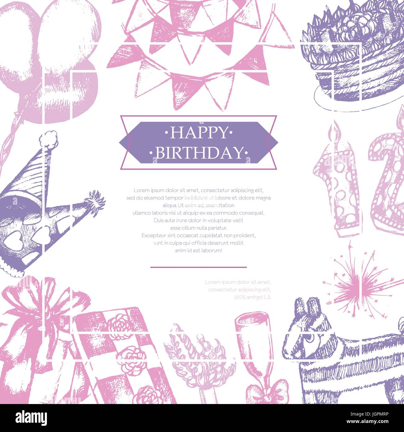 happy birthday color vector hand drawn vintage postcard template with copy space for your text realistic gift cap flag cake balloon color whee