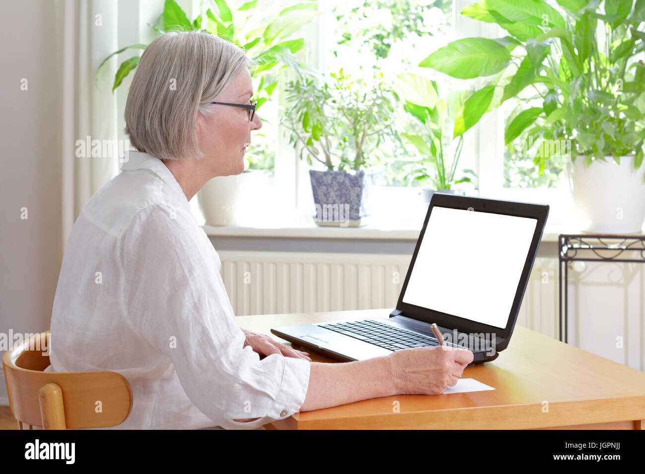 Senior woman at home in front of her laptop taking notes, online advice or e-learning concept template, white screen, Stock Photo