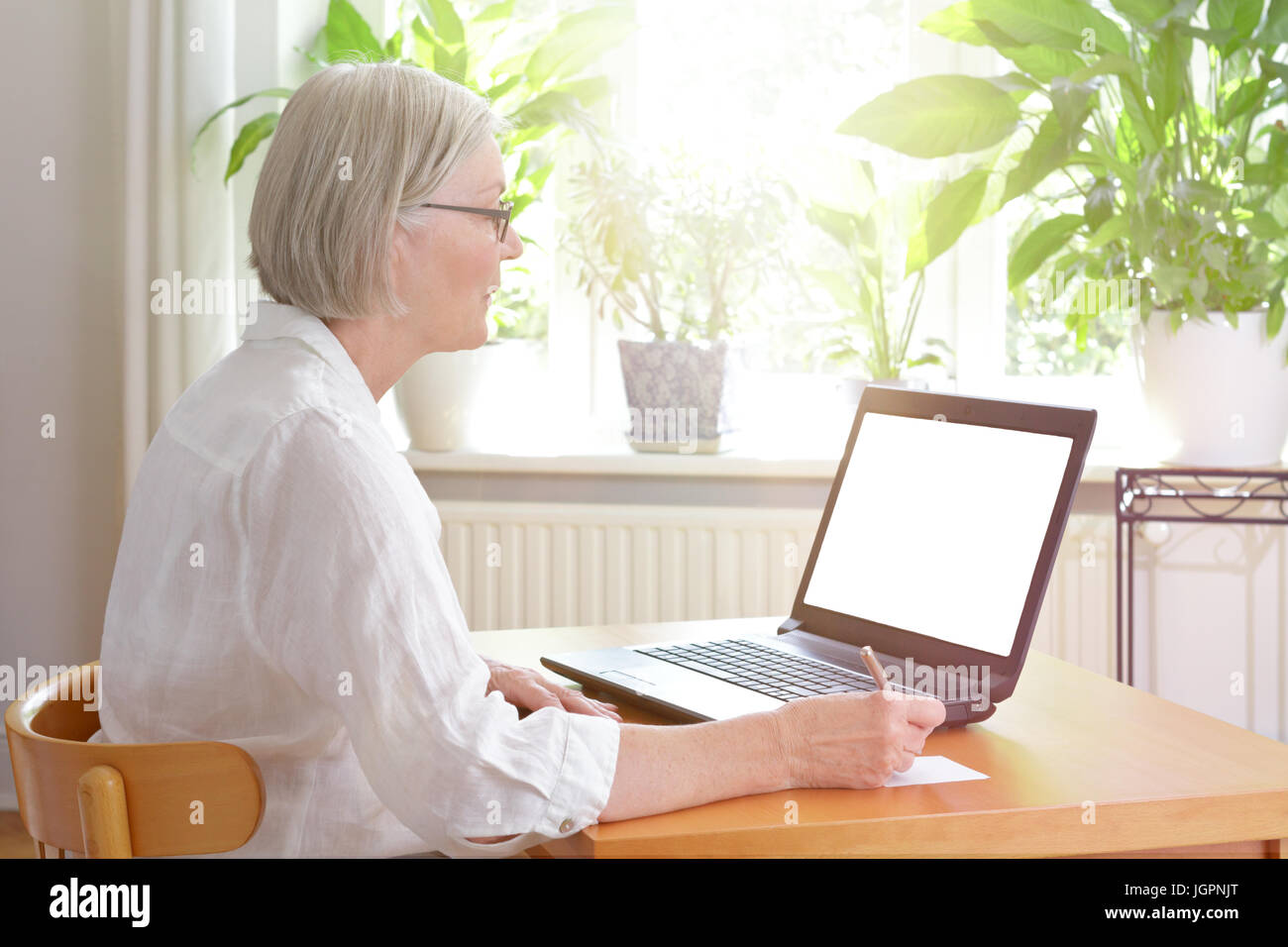 Senior woman at home in front of her laptop taking notes, online advice or e-learning concept template, blank screen, Stock Photo