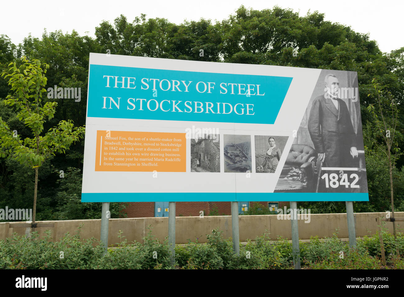 Stocksbridge, Sheffield - The Story of Steel in Stocksbridge - part of a series of information boards at Fox Valley - Stock Image