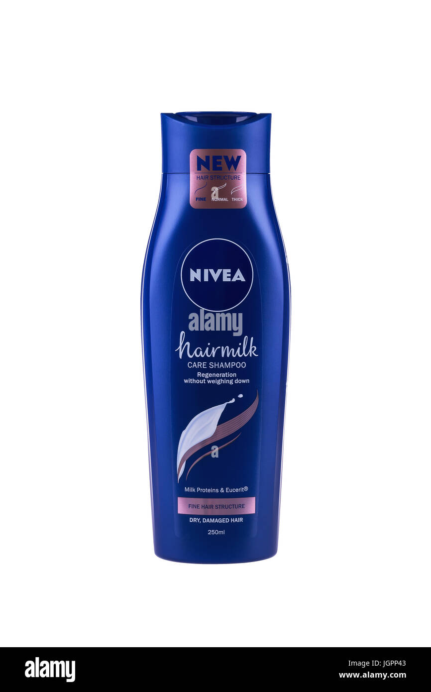 BURGAS, BULGARIA - JULY 9, 2017: Nivea Hairmilk Shampoo Fine Hair Structure 250 ml isolated on white, with clipping Stock Photo