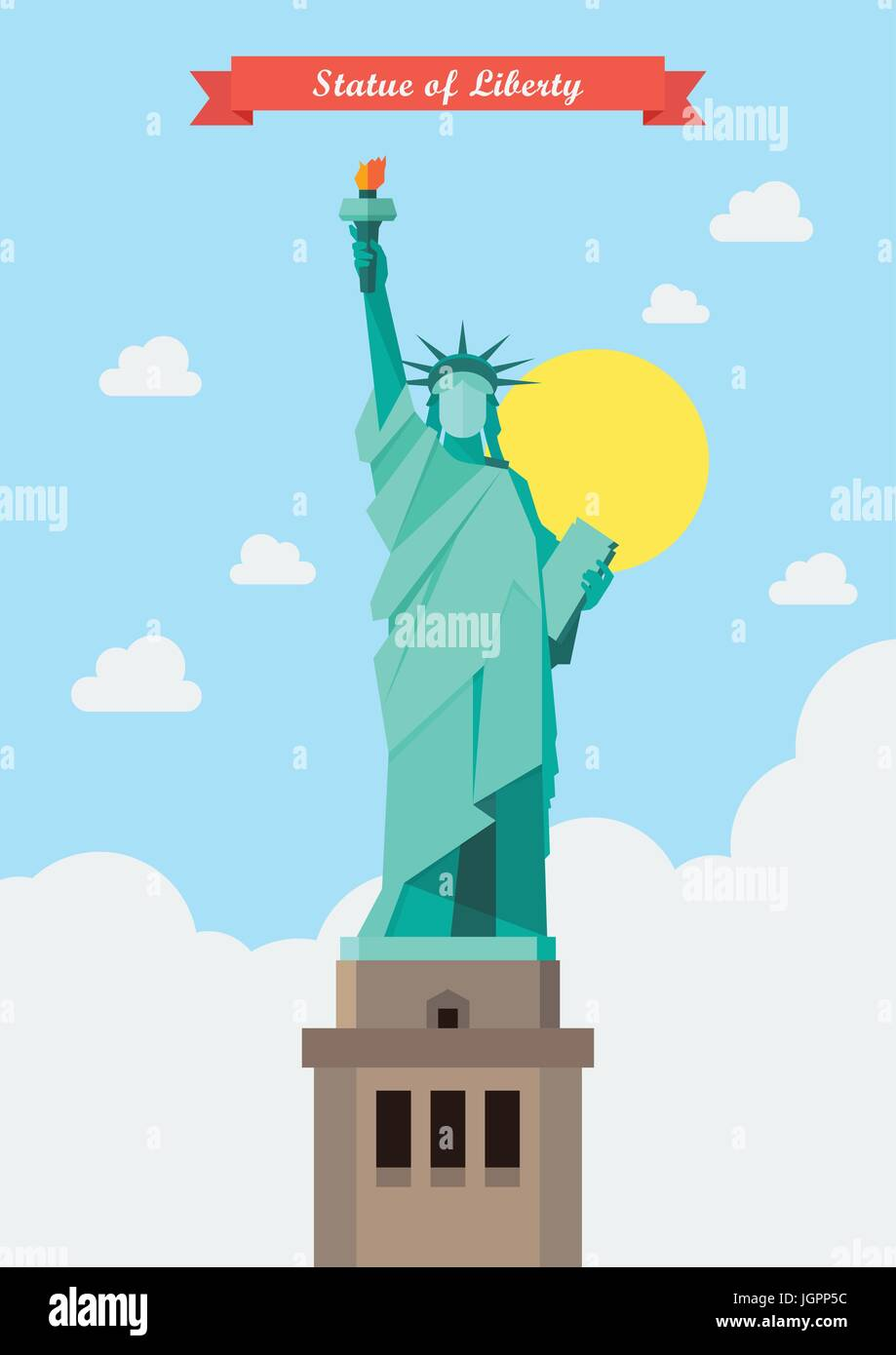 Statue of liberty illustration. Flat style design Stock Vector
