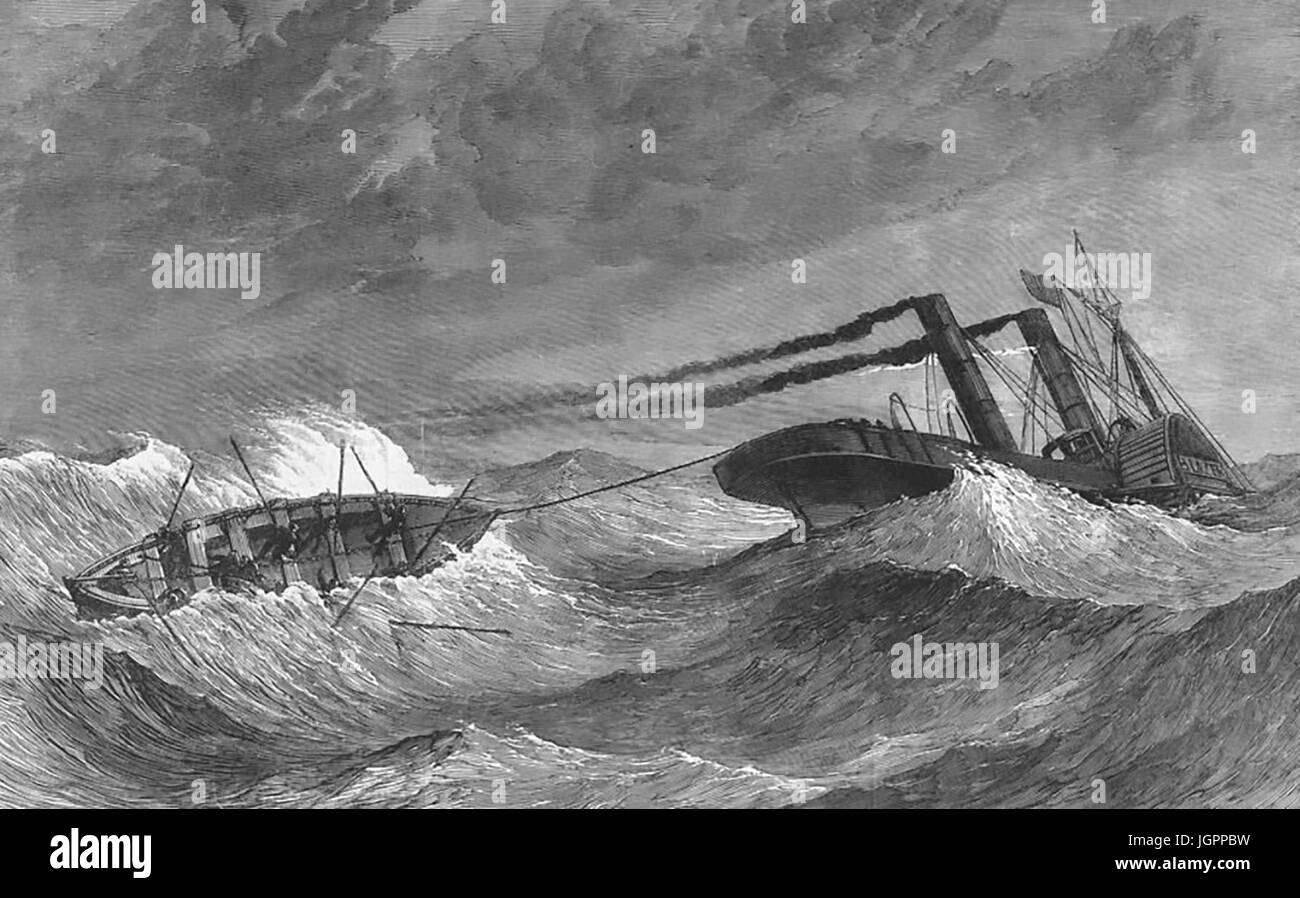 LIVERPOOL LIFEBOAT DISASTER 14 January 1865. While trying to help the stricken Lelia paddle steamboat acting as - Stock Image