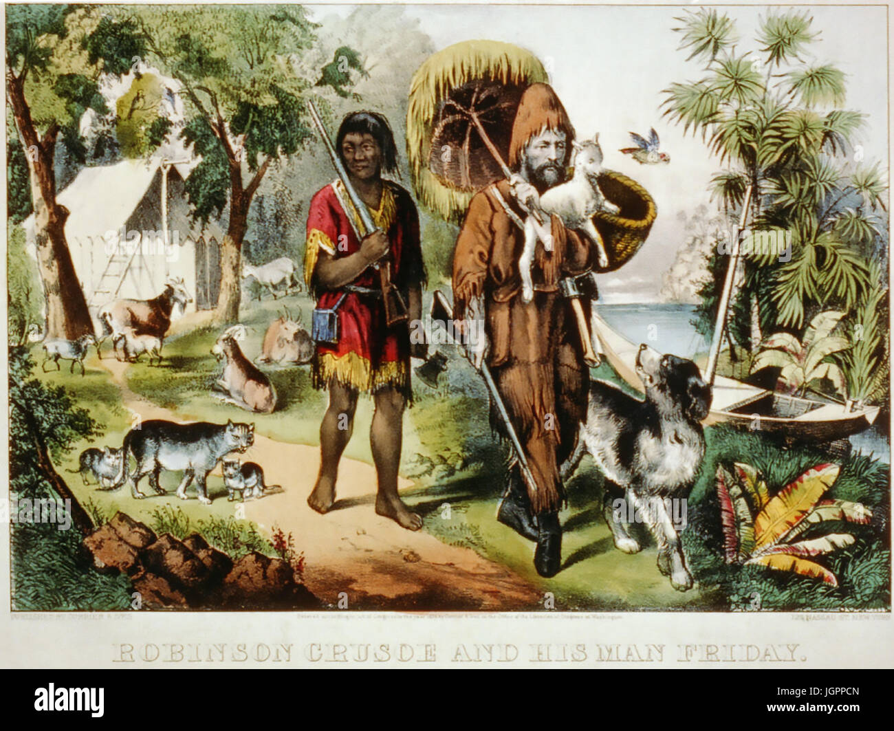ROBINSON CRUSOE AND HIS MAN FRIDAY Currier & Ives print about 1875 - Stock Image