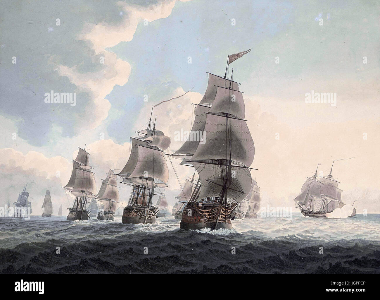 "SAMUEL ATKINS (c 1760-1810) English artist. ""A squadron of the Royal Navy running down the Channel and an East Indiaman Stock Photo"