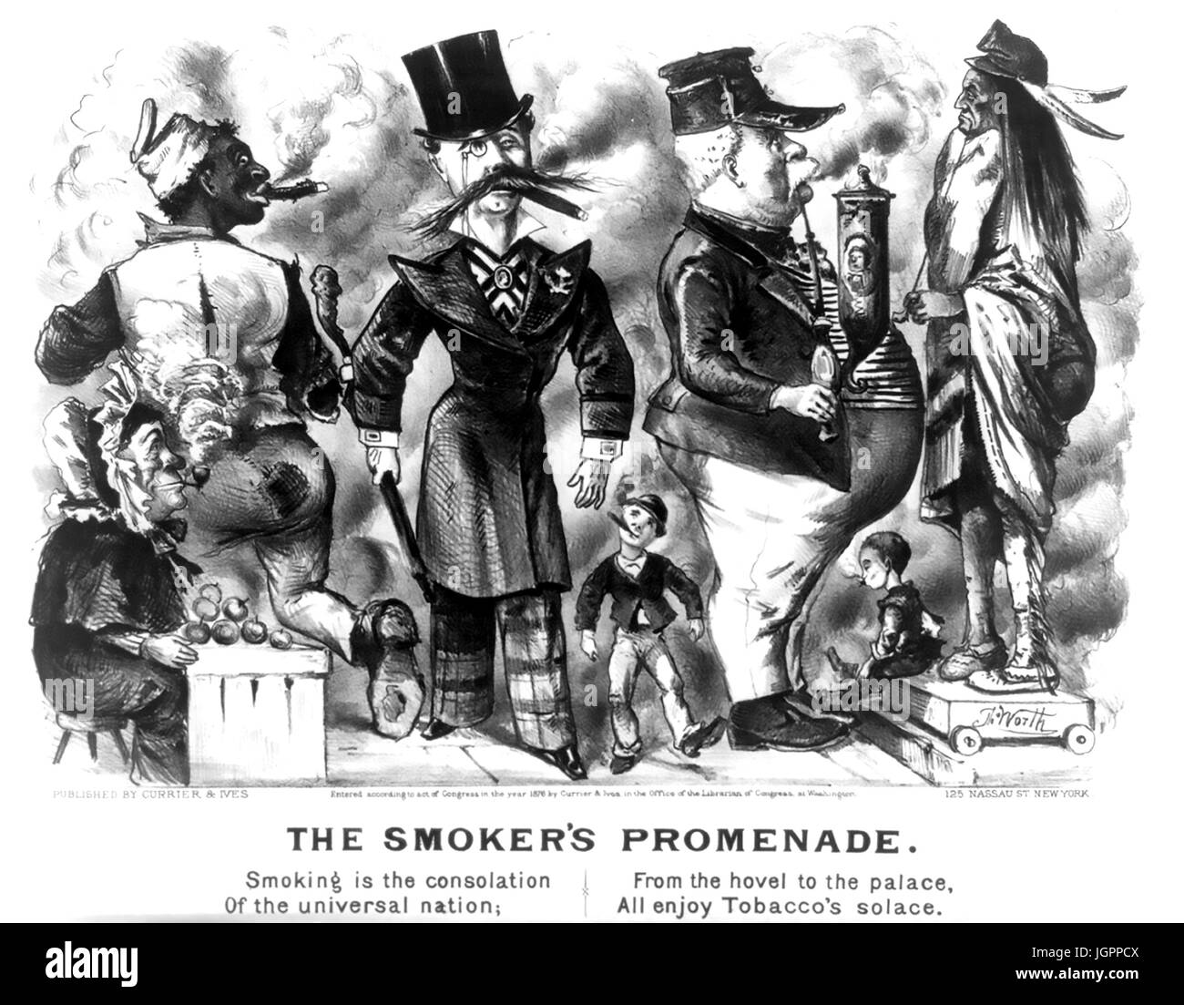 THE SMOKER'S PROMENADE Currier & Ives print about 1875 - Stock Image