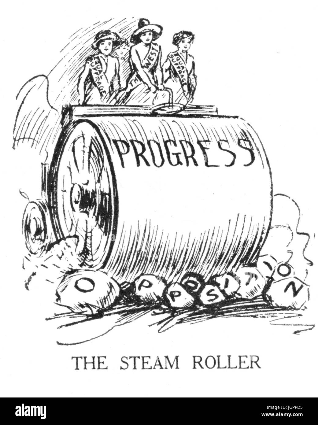 THE STEAM ROLLER American suffragettes on a steam roller crushing the opposition in a cartoon from 'Judge' - Stock Image