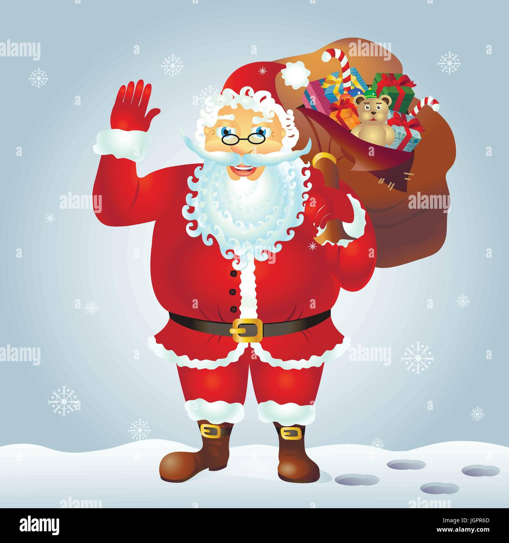 Santa Claus cartoon waving hand. Santa Claus with a raised left hand. Cartoon character - Stock Vector