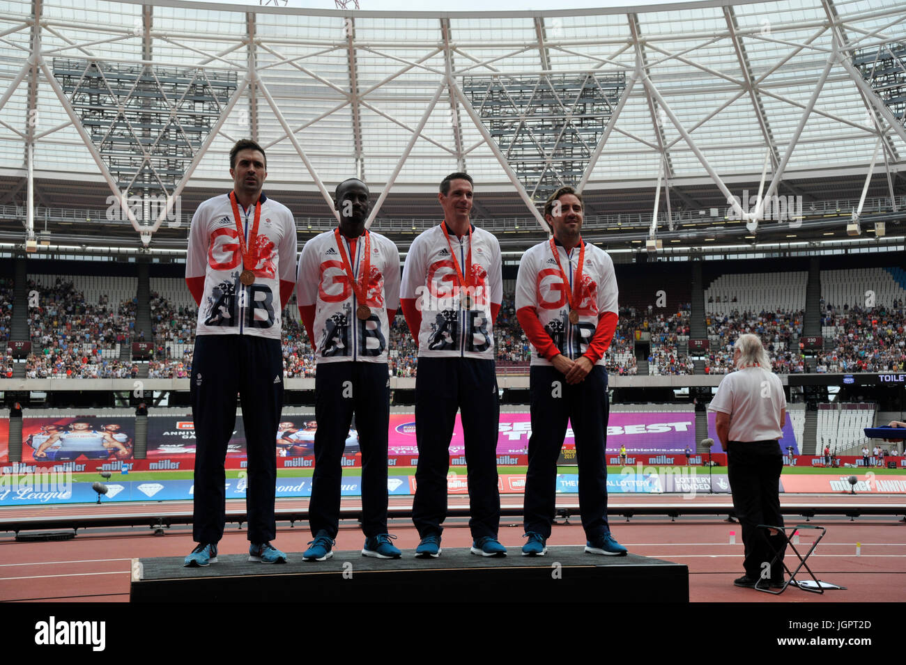 Stratford, UK. 9th Jul, 2017. Mens relay team receive medals 4X400m Martyn Rooney, Andrew Steel, Robert Tobin, Michael - Stock Image