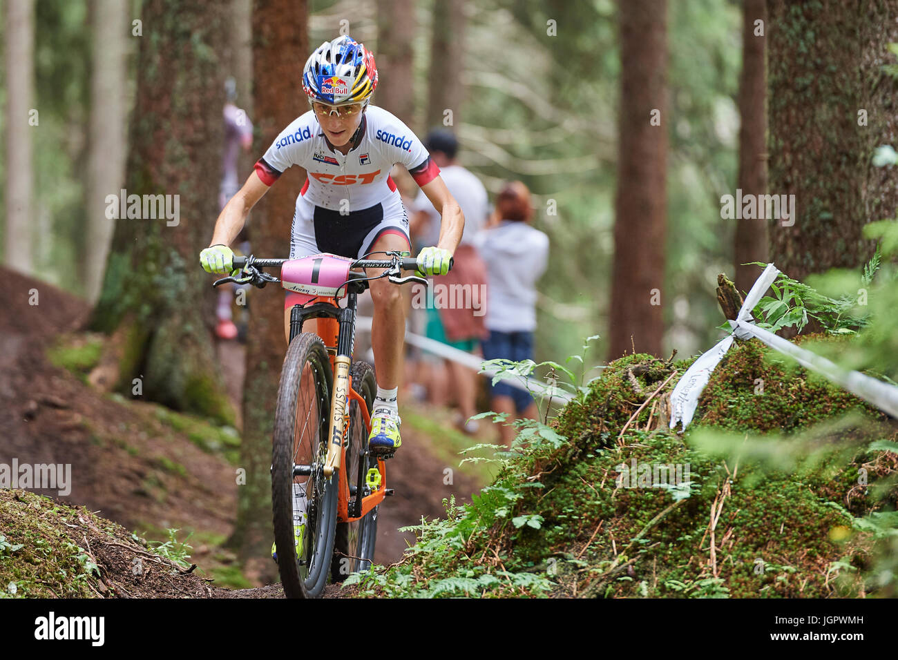Lenzerheide, Switzerland. 9th July, 2017. Yana Belomoina from CST SANDD AMERICAN EAGLE MTB RACING TEAM during the - Stock Image