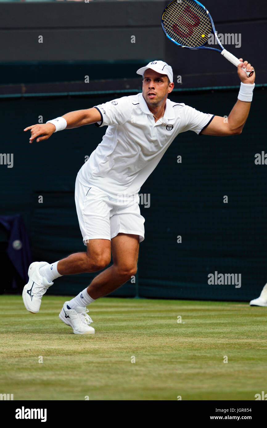 London, UK. 10th July, 2017. Wimbledon Tennis: London, 10 July, 2017 - Gilles Muller of Luxembourg during his fourth - Stock Image