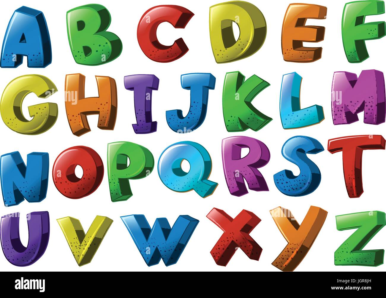 English alphabet fonts in different colors illustration - Stock Vector