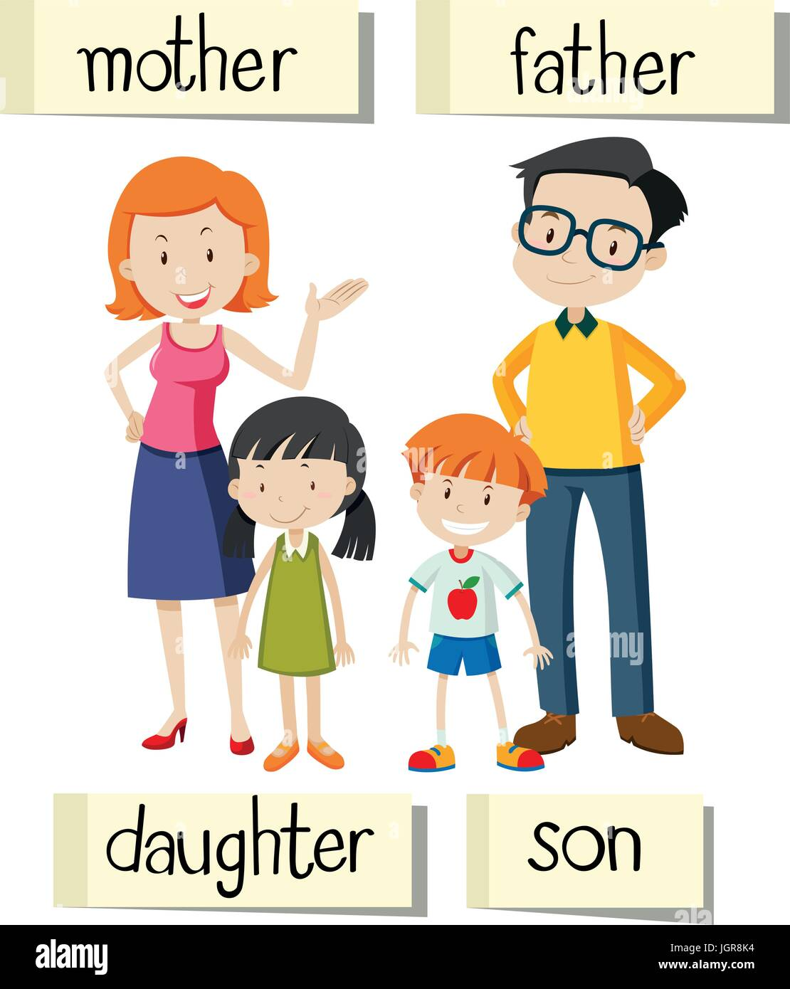 Wordcard for family members illustration - Stock Vector