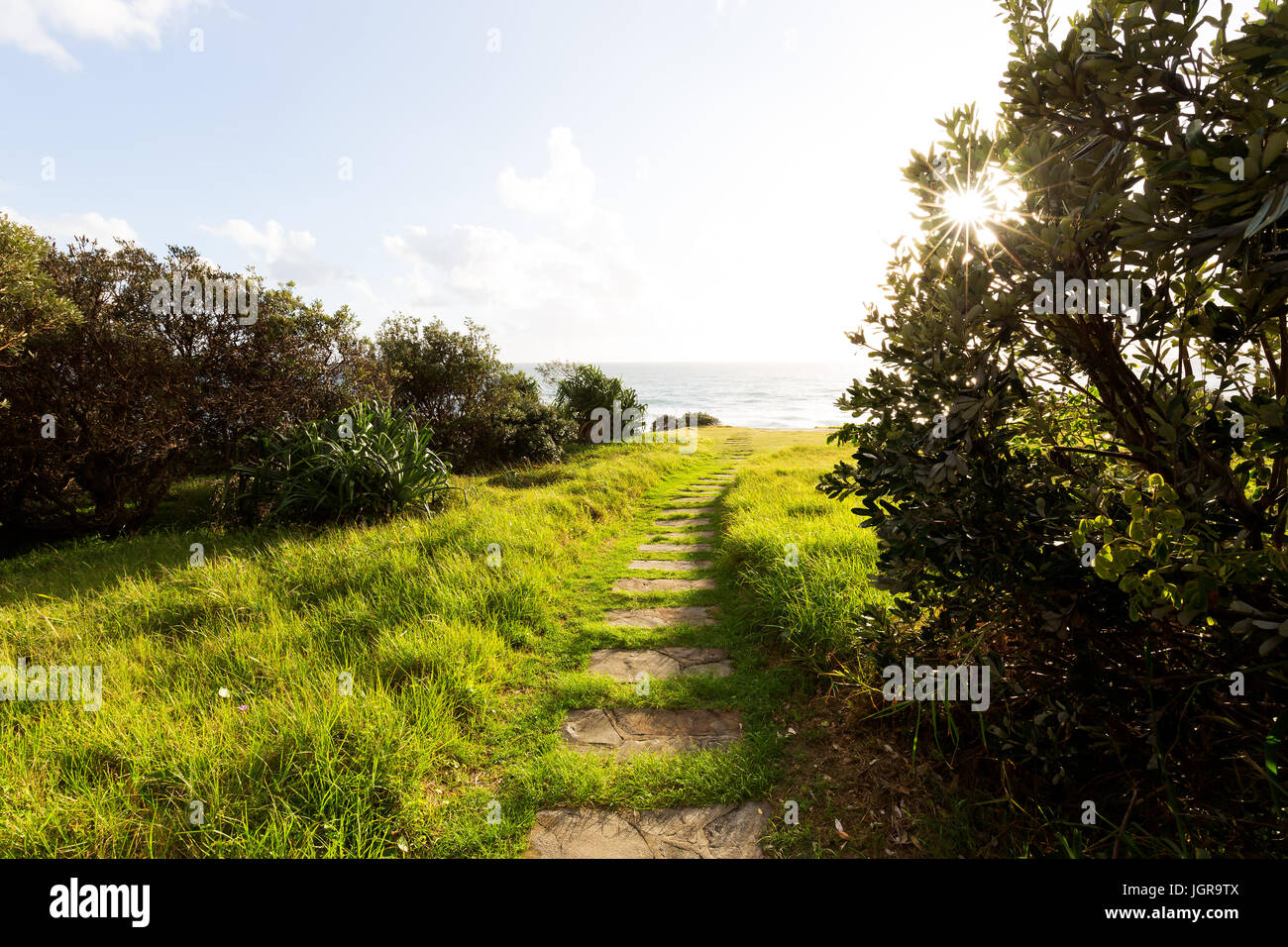 Stepping stones lead through illuminated green grass towards a bright sunstar that shines through the trees on a Stock Photo