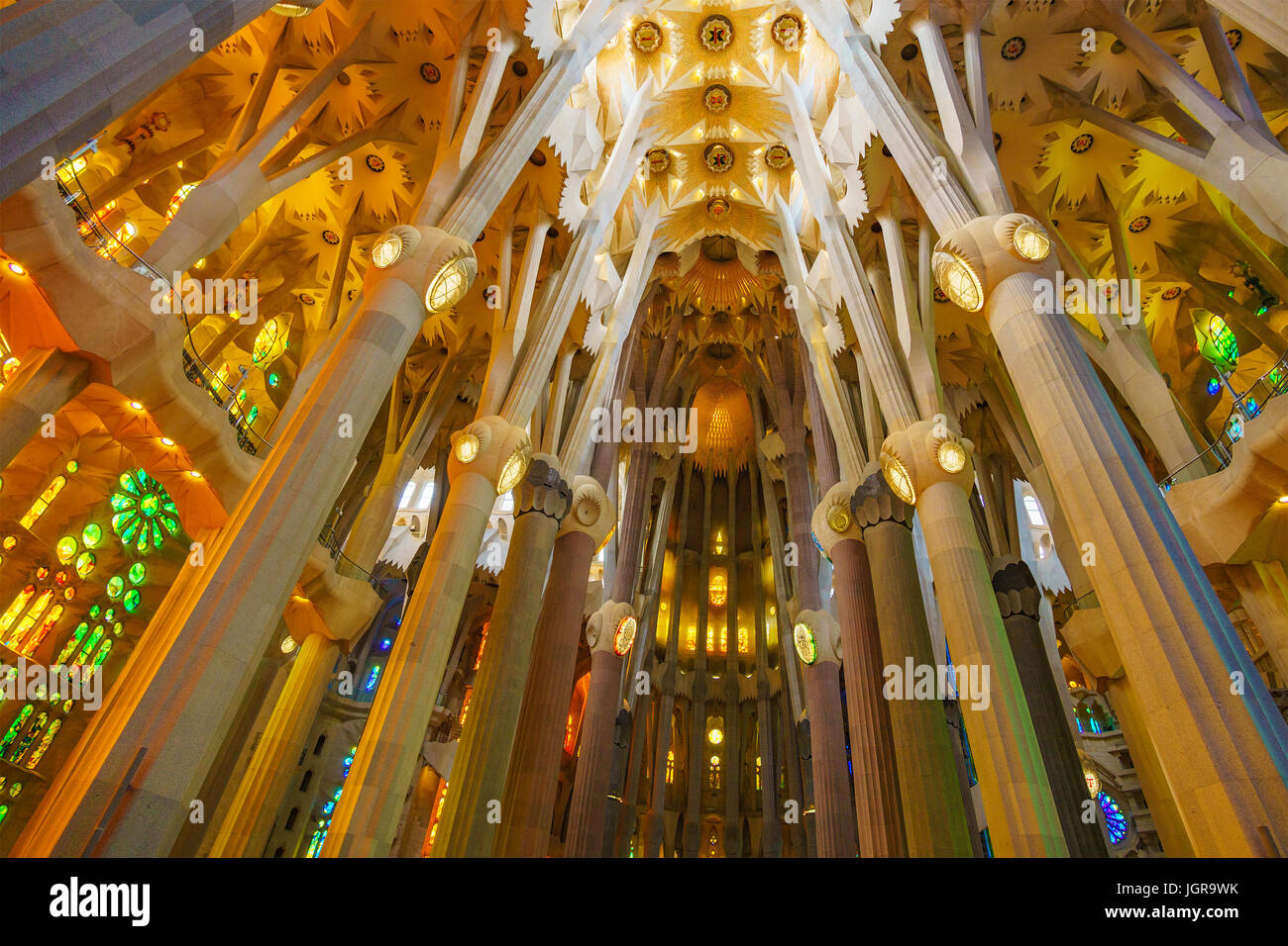 Sagrada Família (Basilica and Expiatory Church of the Holy Family) is a large Roman Catholic church in Barcelona, - Stock Image