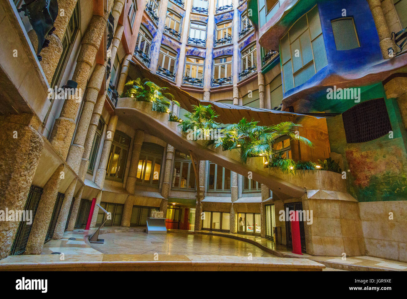 Casa Milà, La Pedrera or 'open quarry' is a famous modernist building in Barcelona, Catalonia, Spain - Stock Image