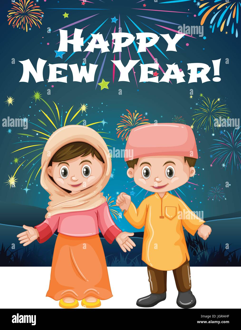 Happy New Year Card Template With Muslim Kids Illustration Stock