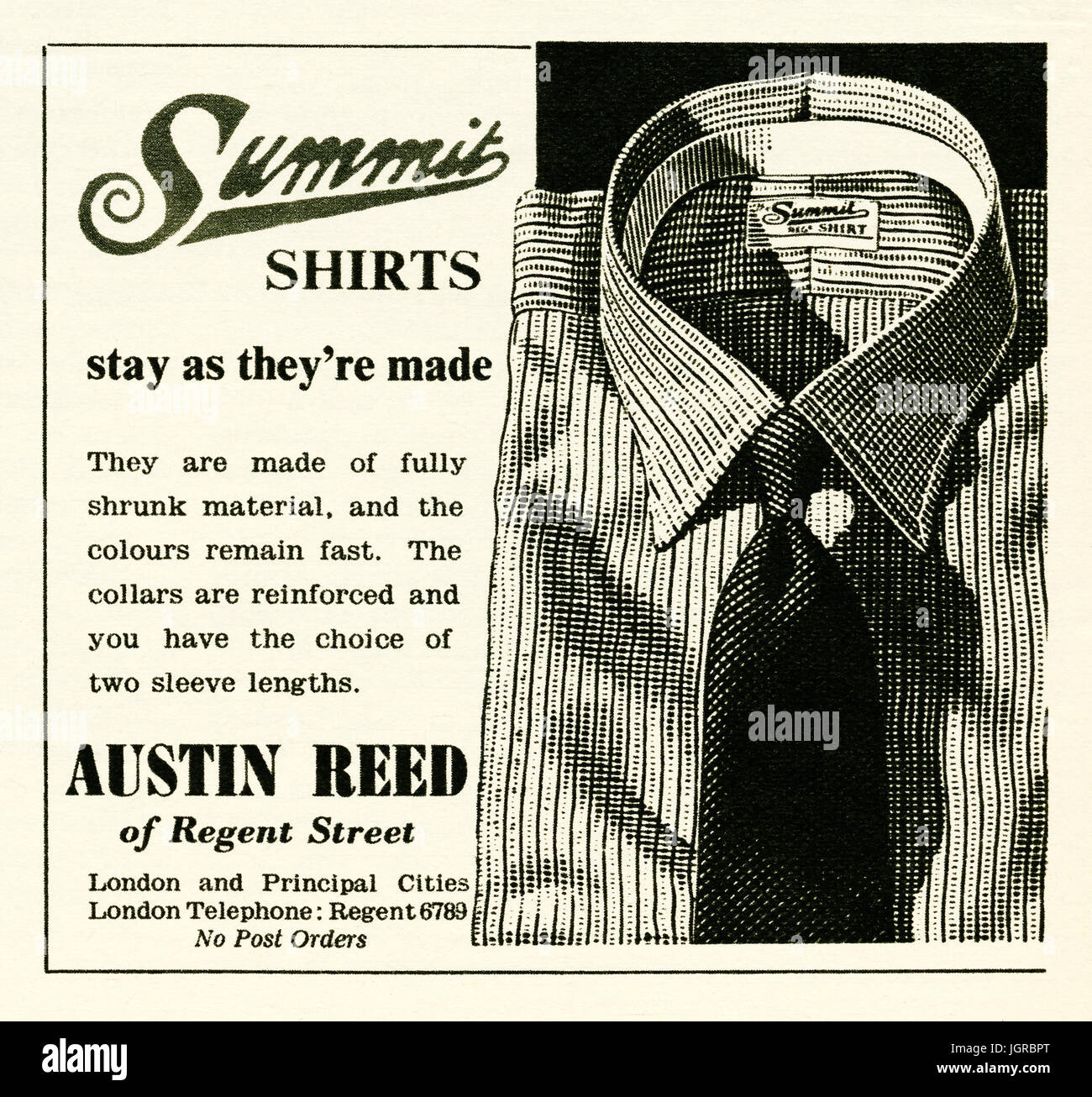 An Advert For Austin Reed S Summit Shirts It Appeared In A Magazine Stock Photo Alamy