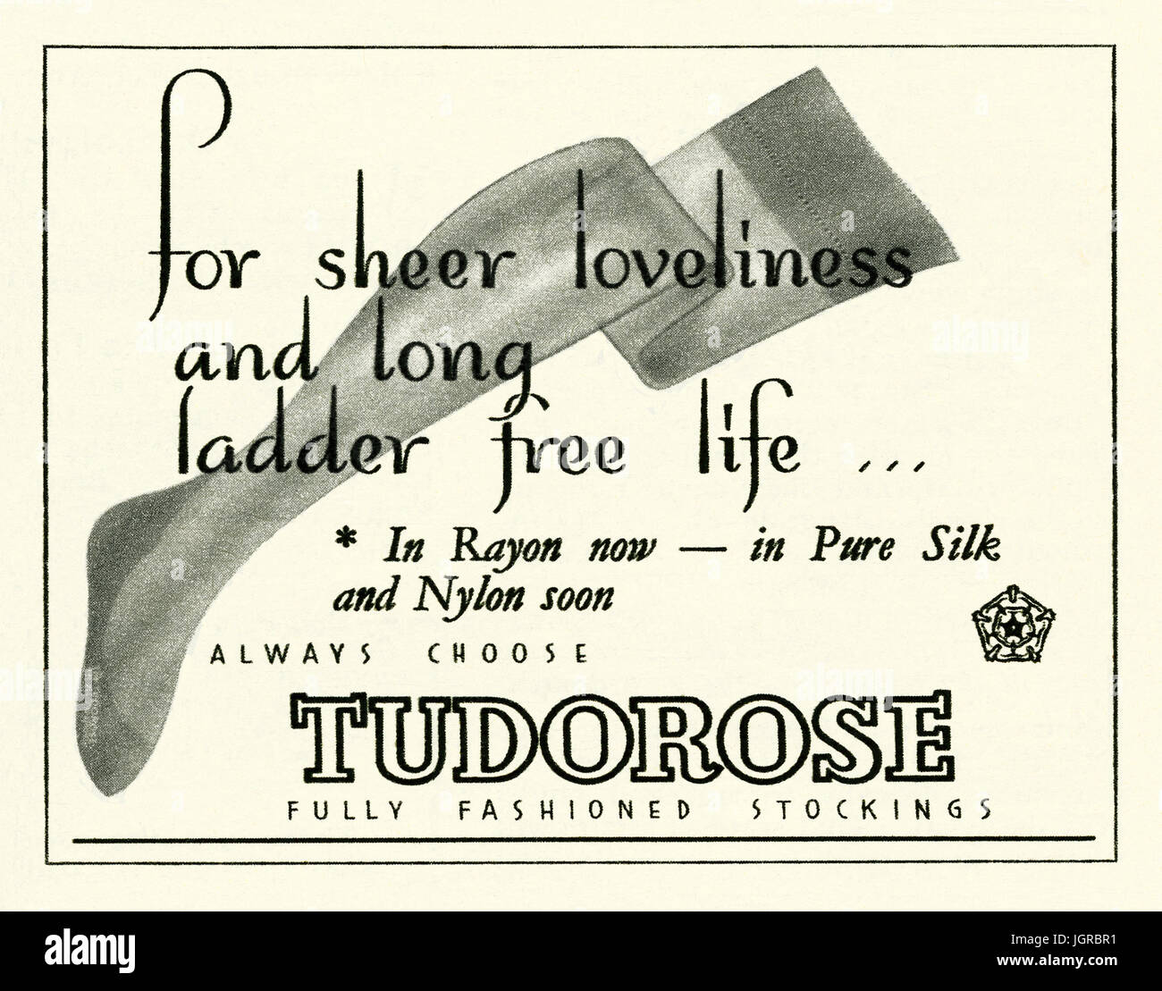a36dcb5d1 An advert for Tudorose rayon stockings - it appeared in a magazine  published in the UK