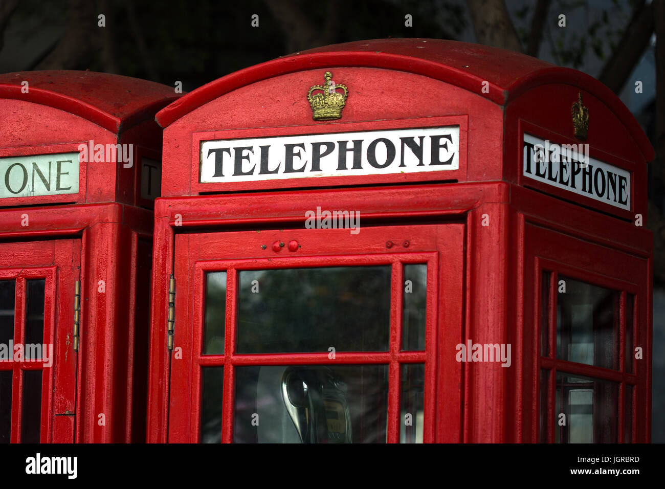 British telephone boxes in the town centre, Gibraltar - Stock Image