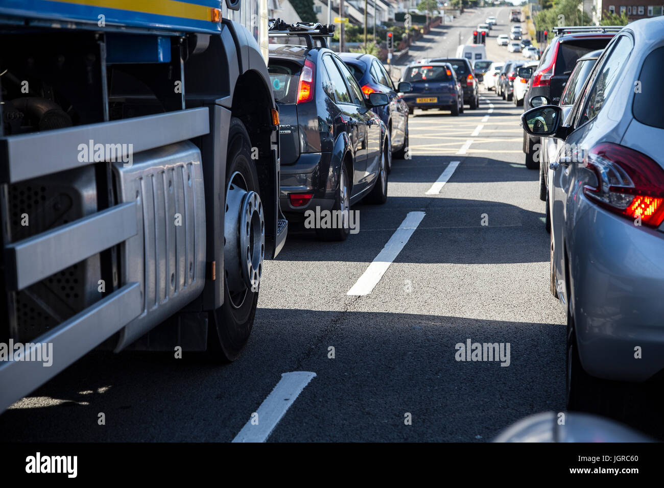 traffic jam nox,car pollution,diesel cars,traffic,congestion,4wd, 4x4, air, automobile, automotive, autos, billowing, - Stock Image